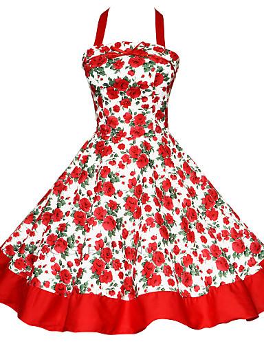 cheap Women's Plus Size Dresses-Women's Plus Size Party Vintage A Line Dress - Color Block Backless / Print Halter Neck Cotton Black Red Green XL XXL XXXL