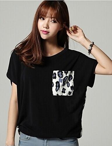 Vrouwen Eenvoudig Zomer T-shirt,Casual/Dagelijks Print Ronde hals Korte mouw Zwart Medium