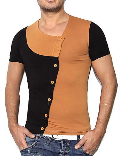 Gestreept-Informeel-Heren-Katoen-T-shirt-Korte mouw Zwart / Bruin / Wit / Grijs