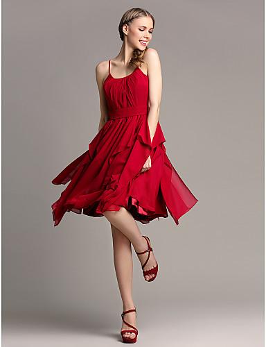 Lanting Bride® Mi-long Mousseline de soie Robe de Demoiselle d'Honneur - Trapèze Bretelles Fines Grande Taille / Petite avecVolants en