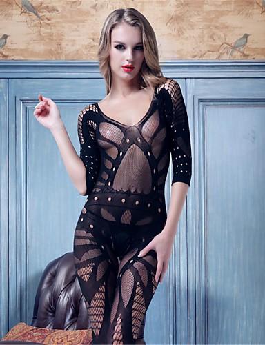 Csipke fehérnemű Ultra szexi Hálóruha Női - Egyszínű Nejlon Spandex Fekete