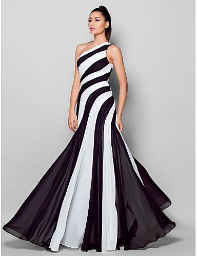 0537065a446 Sheath   Column One Shoulder Floor Length Chiffon Color Block Cocktail  Party   Formal Evening Dress with Side Draping by TS Couture®