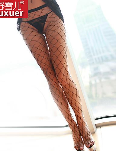 여성용 울트라 섹시 잠옷 솔리드 폴리에스테르 화이트 블랙