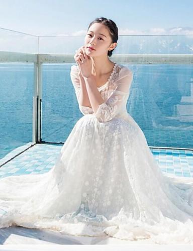 Kadın's Dışarı Çıkma sofistike Çan Elbise - Solid, Dantel Maksi Beyaz / Yaz