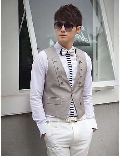 Gilet de costume en coton gris uni coupe ajustée à un bouton