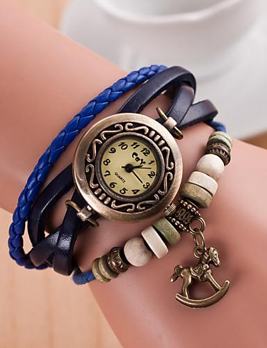 Damen Armbanduhr Quartz PU Band Freizeit Schwarz - Grün Hellblau Königsblau