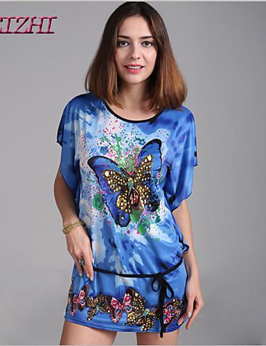 abordables Robes Femme-Femme Manche Chauve-souris Au dessus du genou Ample Robe - Imprimé Eté Vert Bleu Incarnadin Taille unique Manches Courtes