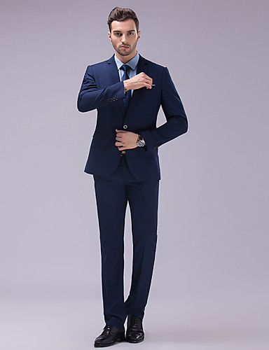 Suits Slim Fit Slim Notch Single Breasted Two-buttons Polyester Solid 2 Pieces White