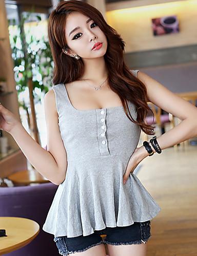 Γυναικεία Αμάνικη Μπλούζα Μονόχρωμο Βαθύ U