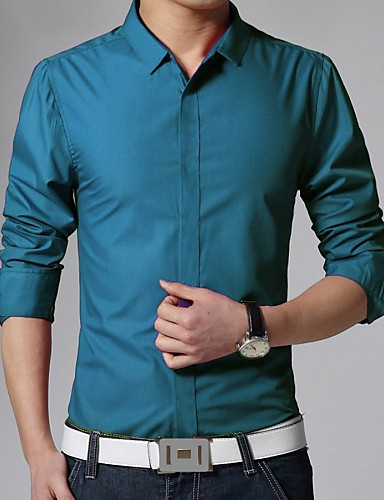 a8fc891e679b Men's Daily Work Business Cotton Slim Shirt - Solid Colored Basic Classic  Collar Blue L / Long Sleeve
