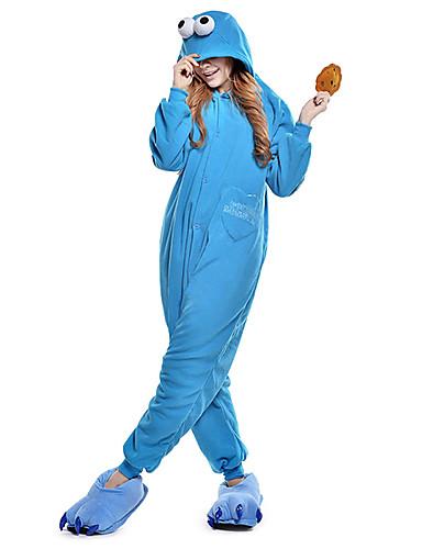 voordelige Cosplay & Kostuums-Volwassenen Kigurumi pyjamas Cookie Anime Film- & TV-themakostuums Onesie pyjamas Fleece Blauw Cosplay Voor Mannen & Vrouwen Dieren nachtkleding spotprent Festival / Feestdagen kostuums