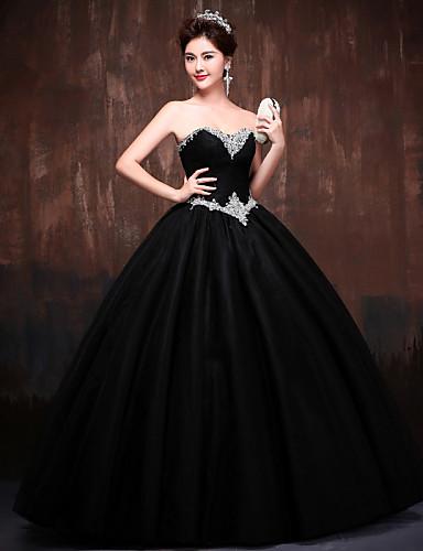 Balo Abiyesi Prenses Kalp Yaka Yere Kadar Polyester Dantelalar Saten Tül Kristal Detaylar ile Resmi Akşam Elbise tarafından Huaxirenjiao