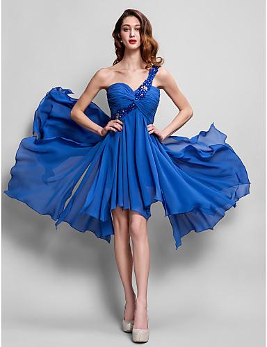 Egysoros vállas aszimmetrikus georgette koktél party hazafutó báli ruhája ts couture®-vel