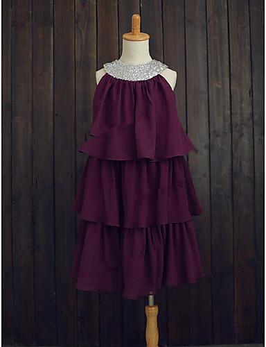 A-Line Tea Length Flower Girl Dress - Chiffon Sequined Sleeveless Jewel Neck with Beading