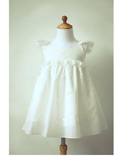A-vonalú Tea-hossz Virágoslány ruha - Taft Rövid ujjú Ékszer val vel Pántlika / szalag Rakott által LAN TING BRIDE®