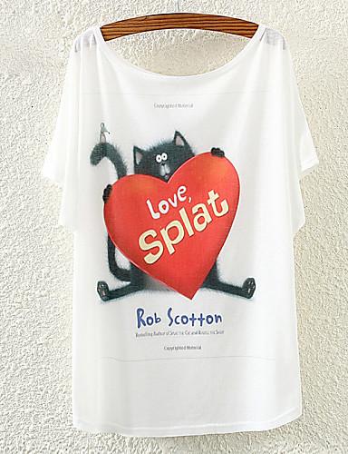 여성 - 캐쥬얼/프린트 원형 짧은 소매 - 티셔츠 ( 폴리에스터 )