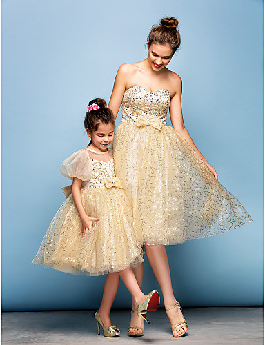 Ball Gown Sweetheart Knee Length Sequined Cocktail Party Dress with Beading Bow(s) Sequins by TS Couture®