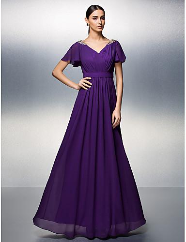 Eng anliegend V-Ausschnitt Boden-Länge Chiffon Formeller Abend Kleid mit Perlenstickerei Überkreuzte Rüschen durch TS Couture®