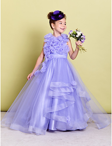 2eb9d3ef5d4 A-Line Sweep   Brush Train Flower Girl Dress - Organza Sleeveless Jewel  Neck with Ruched   Flower by LAN TING BRIDE®