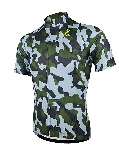 cheap Cycling Clothing-Arsuxeo Men's Short Sleeve Cycling Jersey Camo / Camouflage Bike Jersey Top Breathable Quick Dry Anatomic Design Sports 100% Polyester Mountain Bike MTB Road Bike Cycling Clothing Apparel / Stretchy