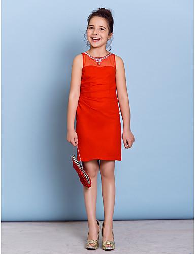 Sütun Taşlı Yaka Diz Boyu Şifon Boncuklama / Kristal Detaylar ile Çocuk Nedime Elbisesi tarafından LAN TING BRIDE® / Doğal
