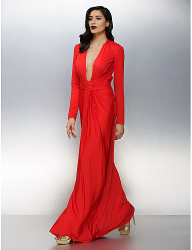 Sheath / Column V-neck Floor Length Jersey Formal Evening Dress with Ruching by TS Couture®