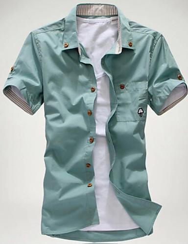 voordelige Herenoverhemden-Heren Print Grote maten - Overhemd Strand Effen Buttondown boord Slank Wit / Korte mouw / Zomer