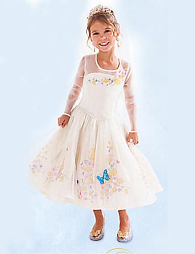 Kız Jakarlı Pamuk Karışımı Yaz / Bahar / Sonbahar Beyaz Elbise