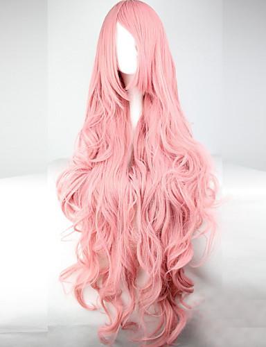 voordelige Cosplay Pruiken-Synthetische pruiken / Kostuum pruiken Golvend Kardashian Stijl Asymmetrisch kapsel Zonder kap Pruik Roze Roze Synthetisch haar Dames Met Bangs Roze Pruik Lang