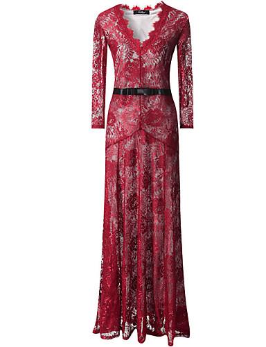 여성의 섹시한 V 넥 긴 소매 레이스 맥시 드레스
