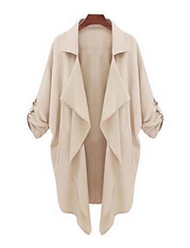 Women's Casual Cute Medium Long Sleeve Long Trench Coat (Polyester)