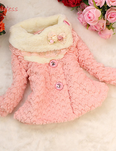 Girl's Winter/Spring/Fall Micro-elastic Thick Long Sleeve Down & Cotton Padded (Cotton Blend/Faux Fur/Polyester)
