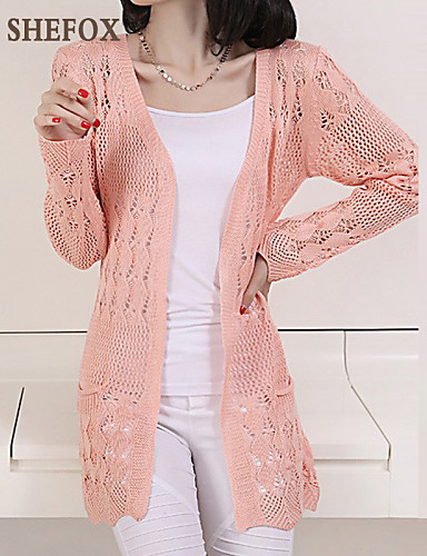 Women's Cut Out Solid V Neck Cardigan, Long Sleeves All Seasons Cotton Linen