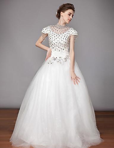 19998bef7b5a Svatební šaty Široká sukně Na zem - Bílá Se stojáčkem Šifón   Organza