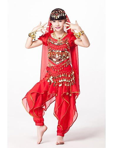 e789ceee67db3 Belly Dance Outfits Performance Chiffon / Sequined Beading / Sequin / Gold  Coin Short Sleeves Natural Top / Pants / Belt