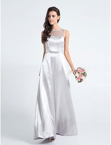 시스 / 칼럼 바닥 길이 새틴 신부 들러리 드레스 와 주름 으로 LAN TING BRIDE®