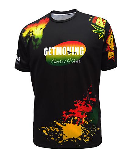 getmoving casual / άθλημα εκτύπωσης κοντό μανίκι τακτική t-shirt των ανδρών (πλεκτά)