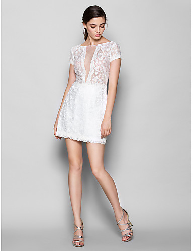 Sheath / Column Scoop Neck Short / Mini Lace Bridesmaid Dress with Lace by LAN TING BRIDE®