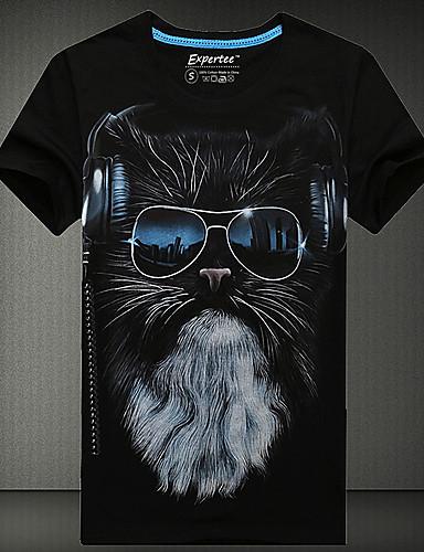 Ανδρικά Καθημερινό / Γραφείο / Επίσημο / Αθλητικό Βαμβάκι Με Τύπωμα Κοντομάνικο T-shirt-Μαύρο