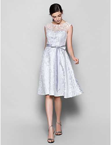 A-Line Scoop Neck Knee Length Lace Bridesmaid Dress with Lace by LAN TING BRIDE®