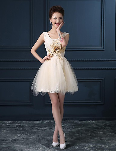 Ball Gown Scoop Neck Short / Mini Lace Satin Cocktail Party Dress with Pattern / Print