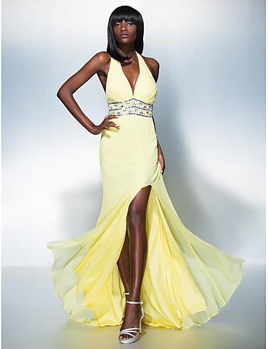 Eng anliegend Tiefer Ausschnitt Boden-Länge Georgette Abiball / Formeller Abend Kleid mit Perlenstickerei durch TS Couture®