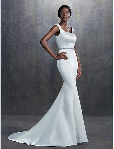 Sereia Decote Quadrado Cauda Corte Cetim Vestidos de noiva personalizados com Miçangas Faixa / Fita de LAN TING BRIDE®