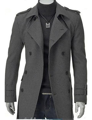 Men's Casual/Daily Simple Solid Plus Size Long Parka,Long Sleeves Winter Cotton