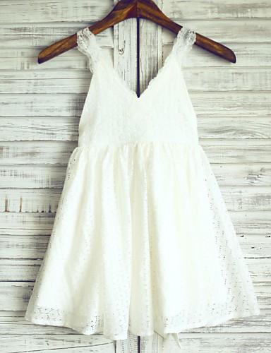 Γραμμή Α Μέχρι το γόνατο Φόρεμα για Κοριτσάκι Λουλουδιών - Δαντέλα Σατέν Αμάνικο Λουριά με Λουλούδι με LAN TING Express