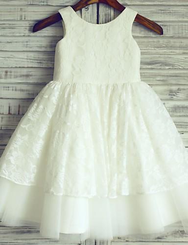 공주 무릎 길이 플라워 걸 드레스 - 레이스 새틴 튤 민소매 와 레이스 으로 LAN TING BRIDE®