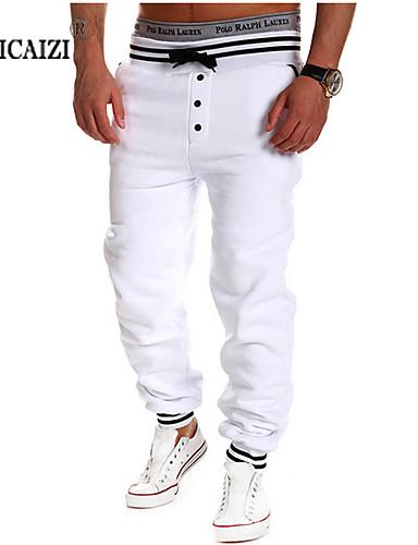 男性用 ストレート ストレート / スウェットパンツ パンツ プリント / チェック / 純色
