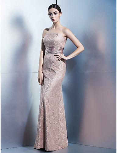 시스 / 칼럼 끈없는 스타일 바닥 길이 레이스 포멀 이브닝 드레스 와 레이스 으로 TS Couture®