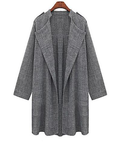 Women's Long Sleeve Linen/Denim/Spandex Trench Coat , Casual/Plus Sizes