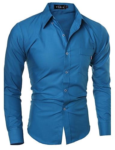 Masculino Camisa Casual Cor Solida Manga Comprida Algodão Azul / Verde